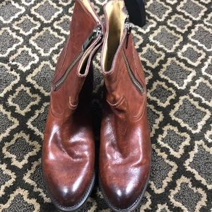 Frye Distressed Brown Leather Booties 11